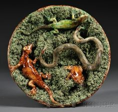 Mafra, Portugal, Majolica Palissy Style Wall Plate with Frog, Lizard and Snake Antique Pottery, Or Antique, Pottery Art, Pottery Making, Wall Plaques, Plates On Wall, Earthenware, Makers Mark, Victorian Era