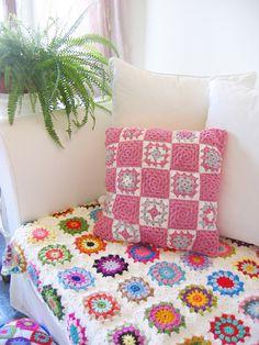 pink granny square crochet pillow