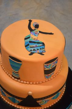African Folk Art Themed Cake Made Of The Icing Images Category At The National Capital Area Cake Show on Cake Central Pretty Cakes, Beautiful Cakes, Amazing Cakes, Traditional Wedding Cakes, Traditional Cakes, 40th Birthday Cakes, Birthday Cakes For Women, Africa Cake, African Wedding Cakes