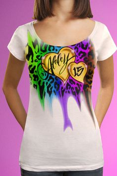 20a7e532e Cheetah Hearts Airbrush T-Shirt Just For $19.95 #Tshirt #Tops #Clothes #.  Spray-tees