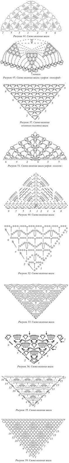 CHALES A CROCHET EN RUSO - Ten crochet shawl charts. Foro: Guía Para Tejer Bien