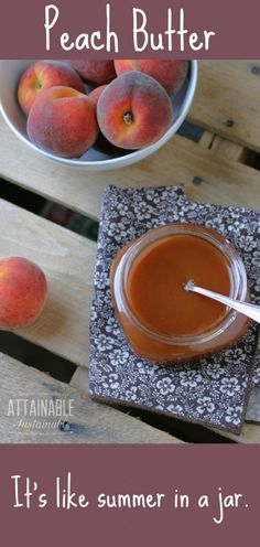 You can preserve this peach butter recipe for the pantry, or simply store it in the fridge. Peach butter is easy to make and great on toast or ice cream. Flavored Butter, Butter Recipe, Fruit Recipes, Real Food Recipes, Jelly Recipes, Peach Butter, Salsa Dulce, Jam And Jelly, Canning Recipes