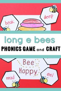 Phonics activities - this is a fun Long E Bees game and craft! My students loved this and writing Long E words to make the bee hive craft was just what they need to support retention of the phonics skill! The craft is perfect for small or whole groups and the game can be added to centers! #phonicsgames #phonicscraft