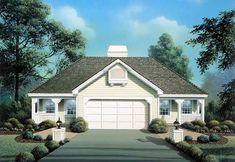Traditional Style House Plans - 844 Square Foot Home , 1 Story, 2 Bedroom and 2 Bath, 2 Garage Stalls by Monster House Plans - Plan 77-220