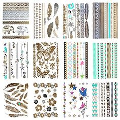 Lola Tatt 12 Premium Sheets of Metallic Temporary Flash Tattoos Gold, Silver and Multi-Colored. * Additional info @ http://www.amazon.com/gp/product/B015M8HYEY/?tag=passion4fashion003e-20&jk=040816093834