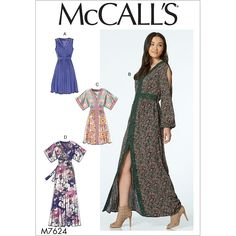 Misses Banded Gathered Dresses with Sleeve and Length Options McCalls Sewing Pattern 7624