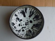 Hand Made Hand Carved Wheel Thrown Ceramic Pottery Bowl Serving Bowl Black and White Bowl Black and Red Bowl