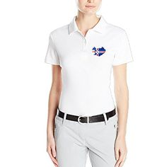 VINCEIE Womens Iceland EURO 2016 Short Sleeve Polo Shirts Size M White *** More info could be found at the image url.