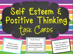 Self Esteem and Positive Thinking Task CardsThese Self Esteem and Positive Thinking Task Cards are 116 task cards focusing on improving self-esteem, confidence building, and encouraging positive thinking skills. They can be used in small groups, 1:1 for intensive instruction, or even in a whole class to help focus on building a positive community of learners.