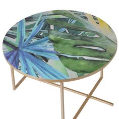 Buy Tropical Leaf Printed Set of 3 Tables online by House Interior Designer from CFS UK at unbeatable price. Table Top View, Table Sizes, Home Pictures, Tropical Leaves, Leaf Prints, Contemporary Furniture, Table Settings, Vibrant, Chair