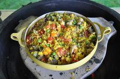 Big T's Big Green Egg Recipe Blog: Paella - Chicken and Sausage