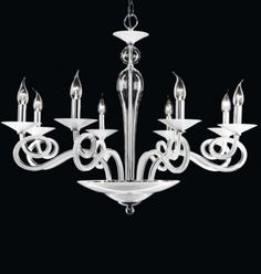 Lühter Contemporary, Luksuslik valgest klaasist lühter.  Klassikalised valgustid, Kodu lühtrid, Lühtrid. Bränd: Renzo Del Ventisette
