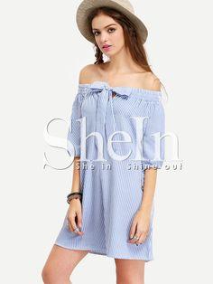 Vestido hombro al aire rayas lazo -azul. 7,95€