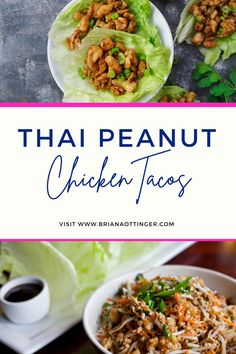 Slow Cooker Thai Chicken, Thai Peanut Chicken, Thai Peanut Sauce, Chicken Taco Recipes, Chicken Tacos, Meat Recipes, Healthy Mexican Recipes, Taco Fillings, Broccoli Slaw