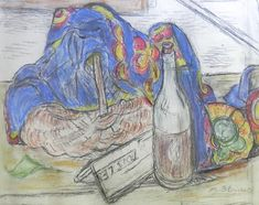 Alexandre Blanchet - Nature morte à l'étoffe bleue - Pastel sur papier, 37 x 47 cm.