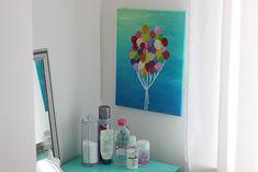 Schilderij met ballonnen - DIY   Lisanne Leeft Diys, Canvas, Home Decor, Tela, Decoration Home, Bricolage, Room Decor, Do It Yourself, Canvases