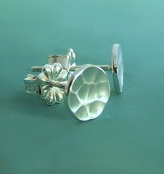 Tiny Pool Post Earrings - Sterling Silver - Hand Hammered. $20.00