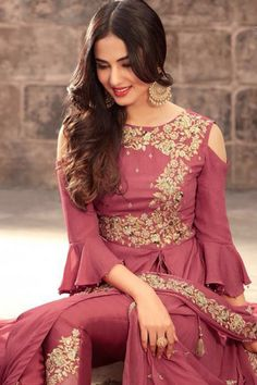 Indian bridal wear ..Designer dress Magenta Color Georgette Fabric Traditional Occasionally Fancy Embroidered Party Wear Indian Bride Bollywood Designer Fashion Pant Style Salwar Suit  .For orders contact anjali designer wear