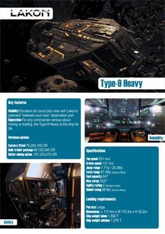 Elite: Dangerous Type-9 Heavy Lakon Spaceways Ships Brochure