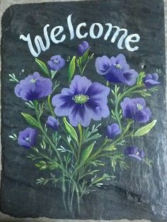 CALIFORNIA POPPIES Slate Welcome Sign Slate wall plaque