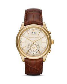 Michael Kors Aiden Leather Strap Watch, 43mm