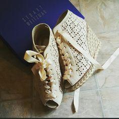 IvoryStuart Weitzman lace sandal. Stuart Weitzman  Lace Espadrille Sandal, wedges, IvoryStuart Weitzman lace sandal. Stuart Weitzman Shoes Wedges