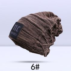 Unisex Winter Plain Beanie Hat Hats Pure Clear Stripes Bands Baggy Knitted Skate