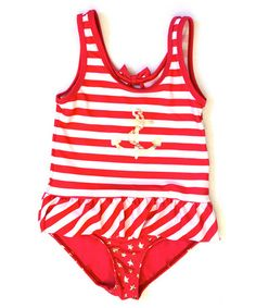 Love this Coral & White Stripe Anchor One-Piece - Infant, Toddler & Girls by Rugged Bear on #zulily! #zulilyfinds