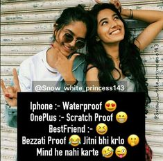 Best Friend Quotes Funny, Besties Quotes, Best Friends Funny, Cute Attitude Quotes, Mixed Feelings Quotes, Cute Love Quotes, Whatsapp Dp, Happy Birthday Quotes For Friends, Friendship Quotes In Hindi