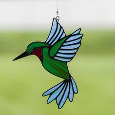 stained glass hummingbird suncatcher, stain glass green and blue humming bird ornament on Etsy