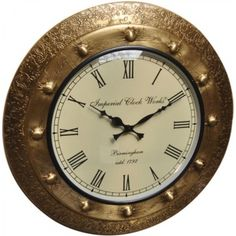Mayur wooden golden wall clock rouend
