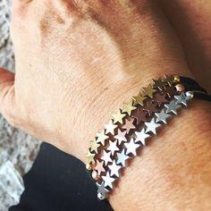 A Trio of Hematite Star Bracelets Pearl Jewelry, Style Inspiration, Pearls, Star, Bracelets, Bangle Bracelets, Beaded Jewelry, Beading, Bracelet