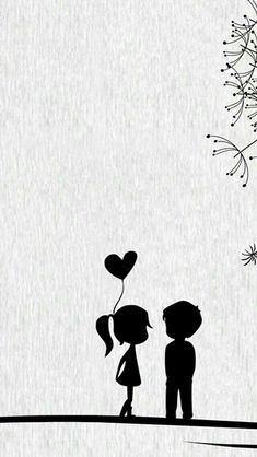 Black Cartoon Wallpaper Source by Love Cartoon Couple, Cute Love Cartoons, Cute Couple Art, Cute Couples, Painting Love Couple, Iphone 5s Wallpaper, Iphone 4s, Heart Wallpaper, Wallpaper Art
