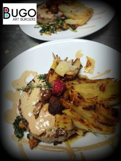 """Organic """"Barrosã"""" Beef Burger served with """"migas"""" (sautéed turnip greens and portuguese """"Broa"""" bread), """"milles feuilles"""" and chestnuts sauce. Ready to go!"""