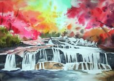 Autumn Scenery, Tapestry, Watercolor, Abstract, Artwork, Blog, Painting, Decor, Hanging Tapestry