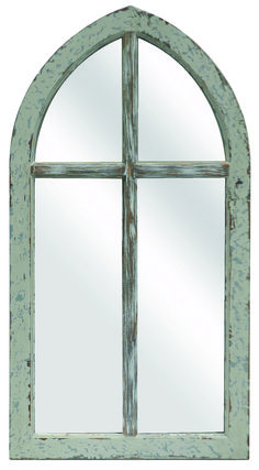 Wall Mirror With An Arched Silhouette And Window Pane