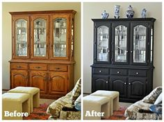 China Hutch Makeover With Miss Mustard Seed Milk Paint.  Beautiful! I could go this to my big hutch in the kitchen.