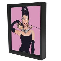Audrey Hepburn Pink Framed Graphic Art