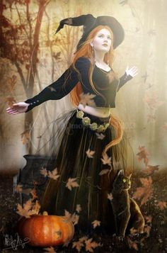 """Magick Wicca Witch Witchcraft: """"The Autumn Witch,"""" by MADmoiselleMeli. Samhain Halloween, Halloween Art, Holidays Halloween, Vintage Halloween, Halloween Pumpkins, Happy Halloween, Beltane, Autumn Witch, Beautiful Witch"""