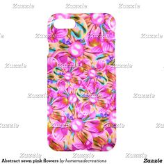 Abstract sewn pink flowers iPhone 7 case