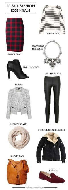 Add these fall fashion essentials to your wardrobe to create stylish and cozy outfits for work and/or school. Hot Beauty Health blog