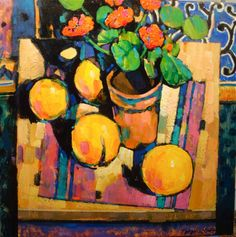Terence Clarke - Grapefruit and Geraniums.