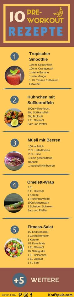 10 Pre-Workout Rezepte: Das richtige Essen vor dem Training Pre-Workout Recipes: The right food before training ❤ Here are 10 recipes for the optimal diet before exercise ❤ # nutrition Sport Food, Sport Diet, Sport Fitness, After Workout, Post Workout, Workout Meals, Outdoor Workouts, Fun Workouts, Best Smoothie