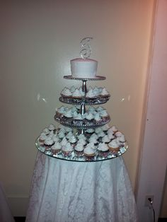 With cake like pinned earlier and rose cupcakes. Minus the bling cake topper