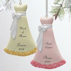 This would be a cute way to ask your friends to be your maid of honor and bridesmaids! They're the Personalized Evening Gown Dress Ornaments from PMall - you can personalize them with whatever you want ... they make a great wedding party gift, too! #Bridesmaid #MaidOfHonor #Wedding #Dress