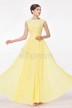 Modest Cap Sleeves Yellow Chiffon Long Prom Dresses with Lace Appliques Tulle Top at ebprom
