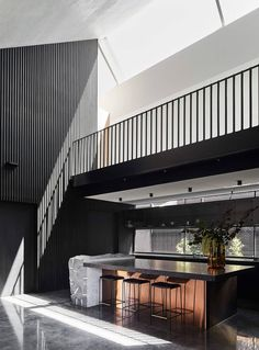Located in Melbourne, Australia, this contemporary single family residence has been designed in 2019 by Splinter Society Architecture. Architecture Design, Residential Architecture, Steel Cladding, Timber Slats, Dark Countertops, Melbourne House, Floating, Black Cabinets, Australian Homes