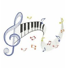 Rippled Music Notes 2 08(Sm) machine embroidery designs