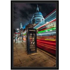 London's St Paul's Cathedral by Eazl Black Framed Premium Gallery Wrap