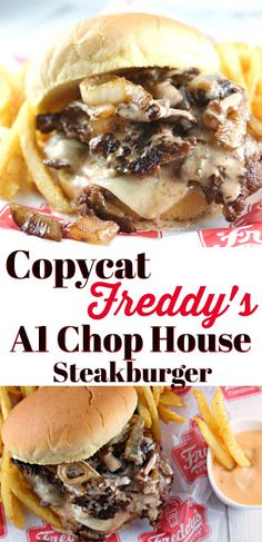 Copycat Freddy's A1 Chop House Steakburger Recipe | The Food Hussy! Copycat Freddy's A1 Chop House Steakburger Recipe - got the burger recipe and technique for those yummy crispy edges straight from the restaurant. This burger is AMAZING!! Two beef patties, white cheddar, grilled onions and the secret A1 Chop House Burger Sauce. I've got the whole recipe! You don't want to miss this burger!! #burger #copycat Steak Burger Recipe, Burger Sauces Recipe, Best Burger Recipe, Beef Burgers, Burger Recipes, Copycat Recipes, Beef Recipes, Whole Food Recipes, Cooking Recipes